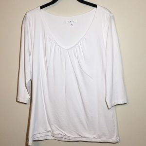 CAbi White 3/4 Sleeve Tee Double layered Size L